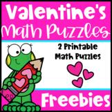 Valentine's Day Free: Valentine's Math Puzzles for Valentine's Math Center