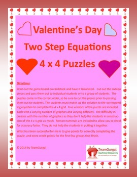 Valentine's Day Math Puzzles - Algebra Two Step Equations