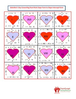 Valentine's Day Math Puzzles - Point Slope to Slope Intercept Form