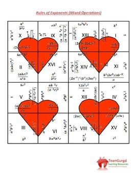 Valentine's Day Math Puzzles - Rules of Exponents