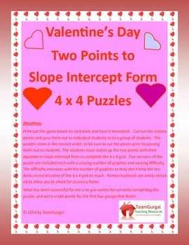 Valentine's Day Math Puzzles - Two Points to Slope Intercept Form