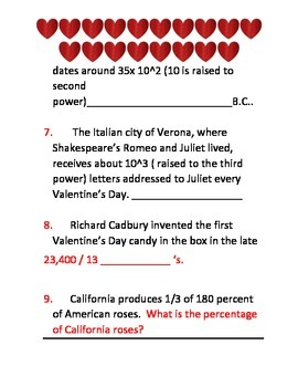Valentine's Day Math Review
