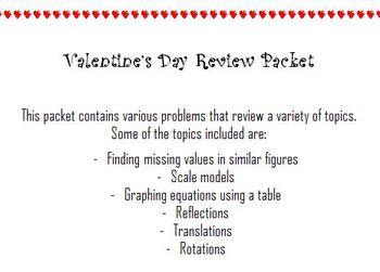 Valentine's Day Math Review Packet