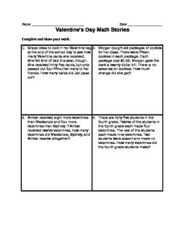 Valentine's Day Math Stories