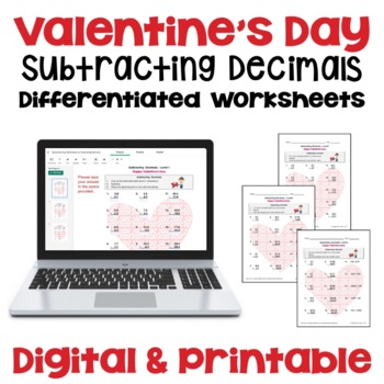 Valentine's Day Subtracting Decimals Worksheets (3 Levels)
