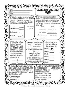 Valentine's Day Math Worksheet - Fractions, Decimals, Percents, and More!