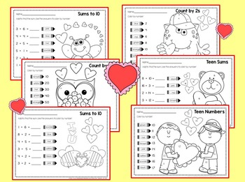 Kindergarten & First Valentine's Day Math