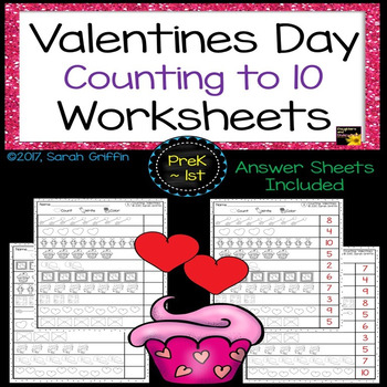 Valentines Day Math Worksheets - Numbers to 10