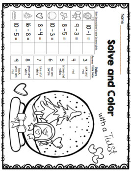 Valentines Day Math Worksheets - Solve and Color with a Twist February