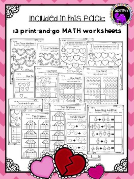 Valentines Day Math Worksheets for Kindergarten