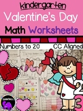 Valentines Day Math Worksheets for Kindergarten