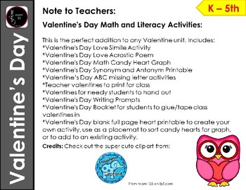 Valentine's Day Math and Literacy Fun Activity Packet
