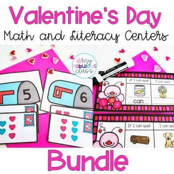 Valentine's Day Math and Literacy Center BUNDLE
