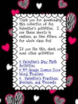 Valentine's Day Math and Literacy Freebie