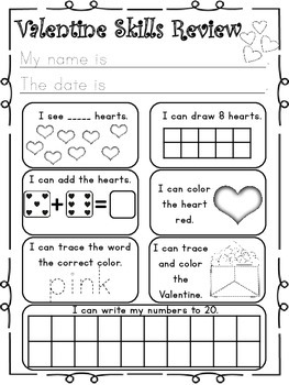 Valentine's Day Math and Literacy (Print & Go-Common Core Aligned) 40 Pages