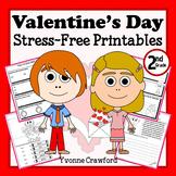 Valentine's Day NO PREP Printables - Second Grade Common Core Math and Literacy