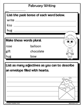 Valentine's Day NO PREP Printables - Second Grade Common Core Math and Literacy