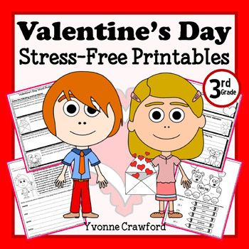 Valentine's Day NO PREP Printables - Third Grade Common Core Math and Literacy