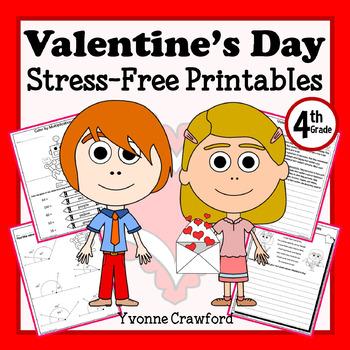 Valentine's Day NO PREP Printables - Fourth Grade Common C