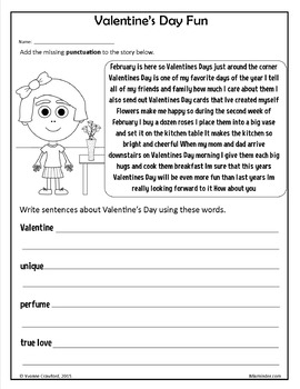 Valentine's Day NO PREP Printables - Fifth Grade Common Core Math and Literacy