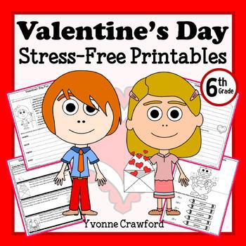 Valentine's Day NO PREP Printables - Sixth Grade Common Co
