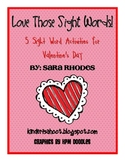 Valentine's Day Math and Sight Word Packet