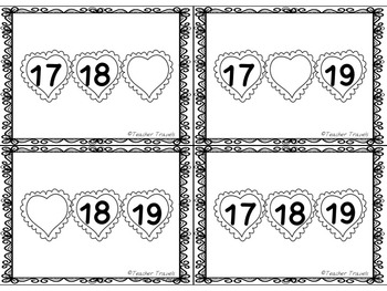 Valentine's Day Missing Number 1-20 Flashcards and Worksheets