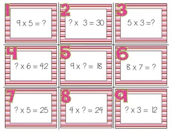 Valentine's Day Missing Number Multiplication