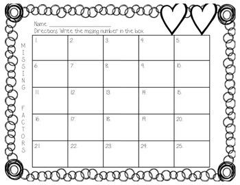 Valentine's Day Missing Number Multiplication
