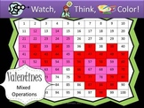 Valentine's Day Mixed Operations - Watch, Think, Color Game!