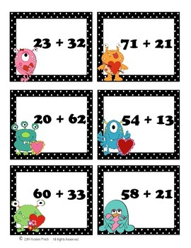 Valentine's Day Monster 2 Digit Addition