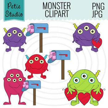 Valentine's Day Monsters, Cute Monster Clipart - EV119