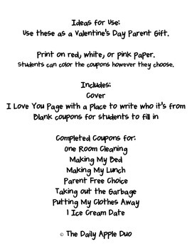 Valentine's Day / Mother's Day Parent Gift: Coupon Book