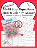 Valentine's Day Math Multi Step Equations Maze & Color by