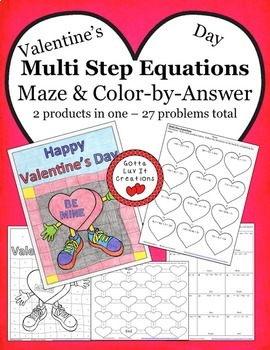 Valentine's Day Math Multi Step Equations Bundle - Valenti