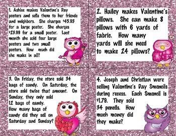 Valentine's Day Multi-Step Word Problems