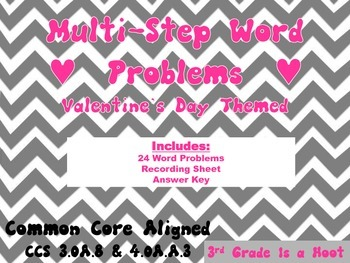 Valentine's Day Multi-Step Word Problems Common Core
