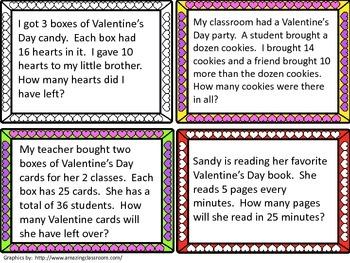 Valentine's Day Multi-step Word Problem Task Cards