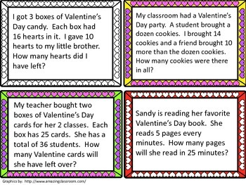 Valentine's Day Multi-step Word Problem Task Cards
