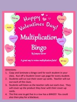 Valentine's Day Multiplication Bingo