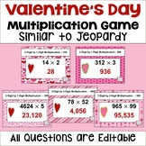 Valentine's Day Multiplication Game Similar to Jeopardy