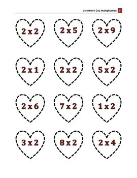 Valentine's Day Multiplication Hearts