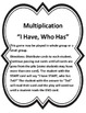 """Valentine's Day Multiplication """"I Have, Who Has"""""""