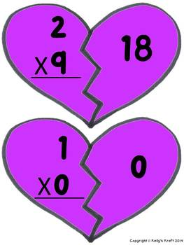 Valentine's Day Multiplication Match-Up