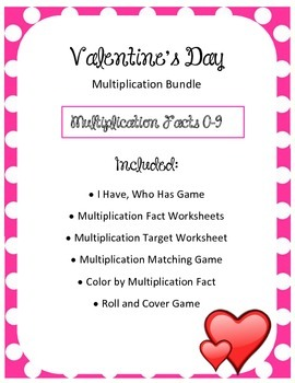 Valentine's Day Multiplication Math BUNDLE Fact Reviews Centers and Games Hearts