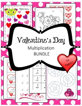 Valentine's Day Multiplication Math BUNDLE Fact Reviews Ce