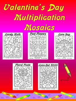 Valentines Day Multiplication Mosaics Set Of 5 Unique