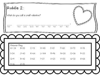 Valentine's Day Multiplication Riddles FREEBIE!