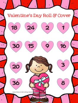 Valentine's Day Multiplication Roll and Cover FREEBIE
