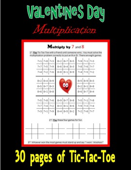 Valentines Day Multiplication (Tic-Tac-Toe)